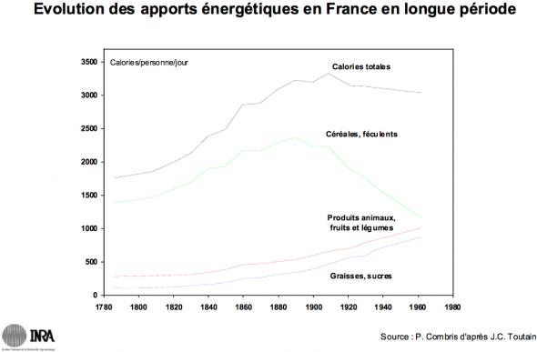 Pierre Combris: la structure des apports énergétiques (France)