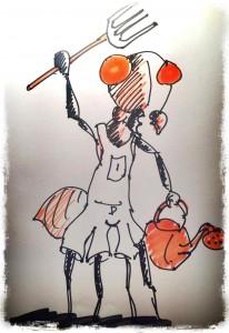 Illustrations de Nico pendant le live: la fourmi paysanne