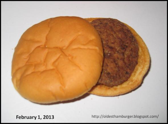 Image d'un hamburger vieux de 14 ans http://oldesthamburger.blogspot.ch/