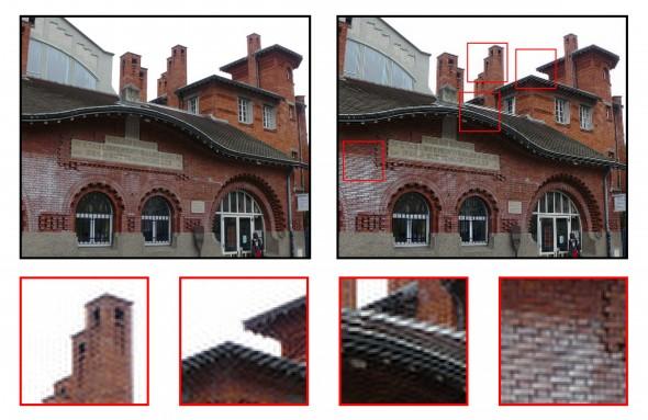 Exemple de repliement de spectre dans une image.