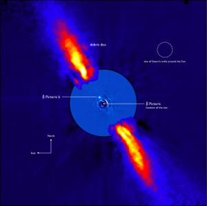 Planète β-Pictoris et disque poussière (ESO/A.-M. Lagrange et al.)