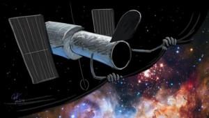 Dessin d'Inti pour l'épisode sur les 25 ans d'Hubble